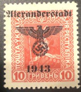 Ukraine/Germany Occ 10c Ovpt Nazi Swastika-MNH