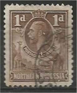 NORTHERN RHODESIA, 1925, used 1p, King George V Scott 2