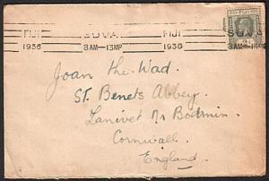 FIJI 1936 GV 2d on cover to UK - Suva machine cancel.......................74929