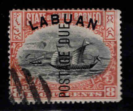 Labuan Scott J6 Used CTO perf 14 Dhow sailing ship Postage Due opt