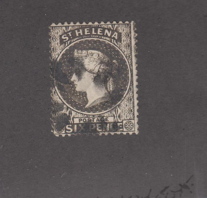 ST HELENA # 6 FVF-SPOTTED CANCELLED 6p GRAY BLUE