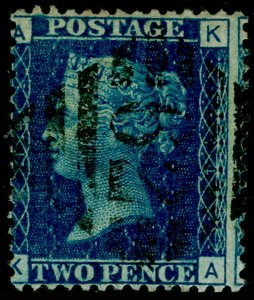 SG47, 2d dp blue plate 14, USED. Cat £38. IRELAND. KA