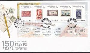 NEW ZEALAND 2005 150 Years of Stamps souvenir sheet FDC.....................8394