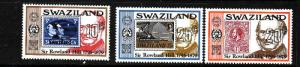 Swaziland-Sc#329-31-Unused NH set-Rowland Hill-Stamp on Stamp-1979-