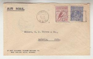 AUSTRALIA, 1936 Airmail cover, Sydney to Neth. East Indies, KGV 3d., 6d. Kooka.