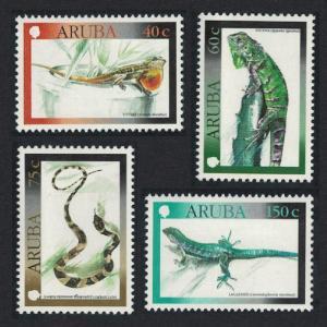 Aruba Iguana Snake Racerunner Reptiles 4v SG#255-258