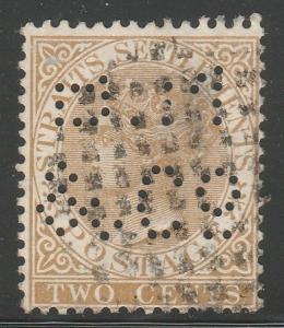 Malaya Straits Settlements 1868 QV 2c used PERFIN wmk CrownCC SG#11 M1438
