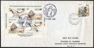 NEW ZEALAND 1987 cover Youth Philatelic Expo cinderella sheet..............79122