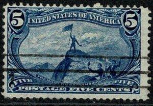 U.S.A. 1898 5c Dp. BLUE VFU SG294 Wmk.w87 TRANS-MISSISSIPPI EXPOSITION,OMAHA VGC