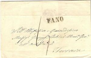 Italy Entire to Ferrara with very good straight line FANO - Postal History Cover
