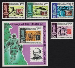 Bhutan Death Centenary of Sir Rowland Hill 4v+MS SG#428-MS432