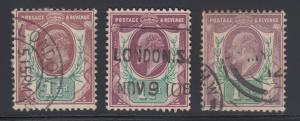 Great Britain SG 221, 287, 288 used 1902-11 1½p KEVII, 3 diff almost VF