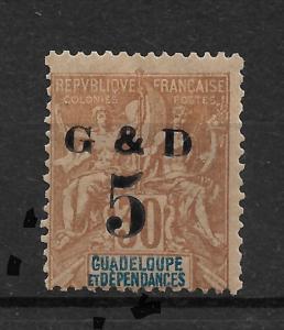 French Guadeloupe 1903, 5c on 30c, Scott # 45,VF Mint Hinged*OG  (FR-1)