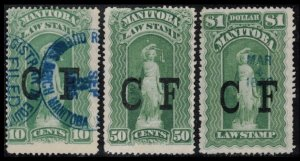 MANITOBA REVENUE 1877 VINTAGE #ML7 ML10 ML11, 3 SCARCE LAW STAMPS CV $3.75