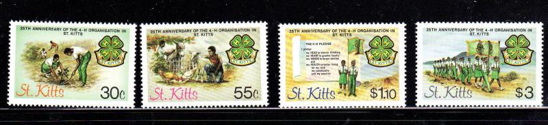 ST. KITTS #153-156  4-H IN ST. KITTS  MINT  VF NH  O.G