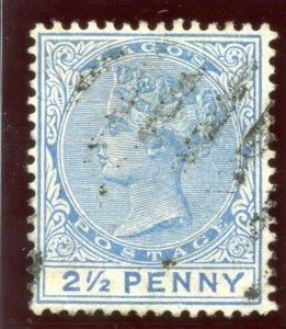 Lagos 1887 QV 2½d blue very fine used. SG 31b. Sc 19a.