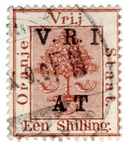(I.B) Orange River Colony Army Telegraphs : 1/- Red-Brown (Boer War cancel)