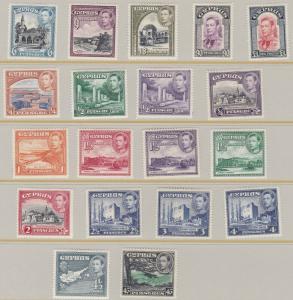 CYPRUS  1938 - 51  S G 151 - 163  SET OF 19  MH  CAT £310