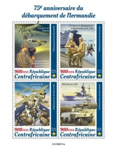 C A R - 2019 - Normandy Landings, WWII - Perf 4v Sheet  - M N H