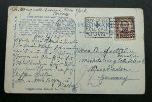 USA To Germany New York Skyline 1926 (postcard) USED *Red Cross cancellation