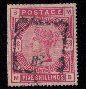 GREAT BRITAIN Scott #108 5 shilling carminestraight edge left F-VF