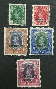 MOMEN: INDIA CHAMBA SG #O66-O67,O69-O71 MINT OG H LOT #193643-2336