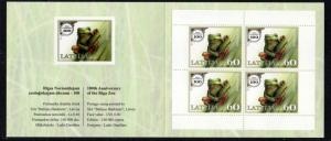 Latvia Sc 805d 2012 Zoo Frog stamp booklet mint NH