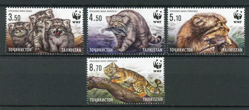 Tajikistan 2017 MNH WWF Manul Pallas's Cat 4v Set Wild Cats Animals Stamps