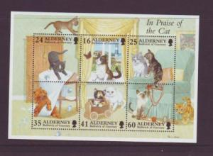 Alderney Sc 97a 1996 Domestic Cats stamp sheet NH