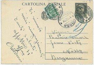 ITALIA REGNO:  storia postale - INTERO POSTALE da Sampierdarena - TASSATO 1936