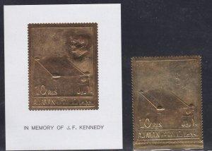 Ajman M # 208 & Block # 20, John F. Kennedy Gold Foil stamp & Souvenir Sheet, NH