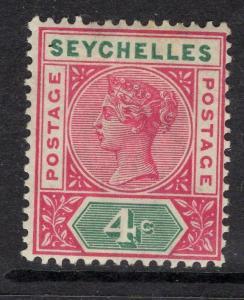 SEYCHELLES SG2 1890 4c CARMINE & GREEN DIE I MTD MINT