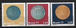 Brazil MNH 1523-5 Colonial Coins 1977