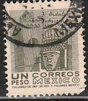 MEXICO 950, $1Peso 1950 Definitive 3rd Printing wmk 350. USED. F-VF. (1432)