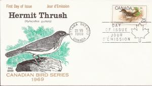 1969 Canada (Cole) FDC - Sc 498 - Birds - Hermit Thrush