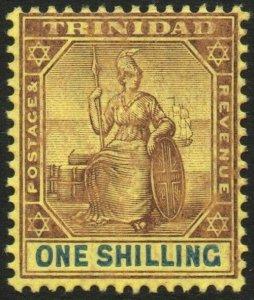 TRINIDAD-1906 1/- Purple & Blue/Golden Yellow Sg 142 LIGHTLY MOUNTED MINT V48565