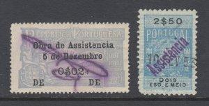 Portugal, Assistencia, Gerais, Barata 2, 61, used. 1918 & 1946 fiscals, 2 diff.