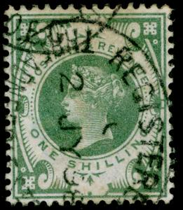 SG211, 1s dull green, FINE used. Cat £75.