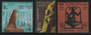 EGYPT, 652-654, (3) SET,  HINGED, 1964,Save the monuments