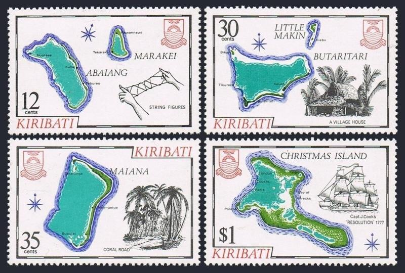 Kiribati 369-372,MNH.Michel 367-370. 1981.Maps,Sailing ship,Coral road,Palms,