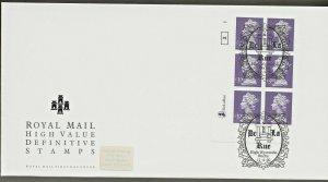 11/4/2000 £3.00 NEW DE LA RUE SMALL FORMAT HIGH VALUE, PLATE BLOCK OF 6 FDC
