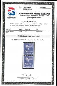 851 Mint,OG,NH Pair.. PSE Graded Superb 98.. SMQ $340.00.. Only 2 Graded Higher
