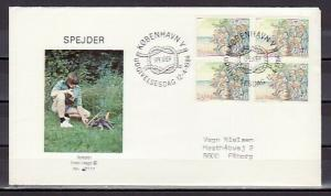 Denmark, Scott cat. 754. Scouts & Campfire, Block of 4 on a First day cover.