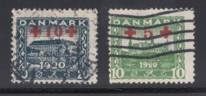 Denmark Sc B1-B2 used 1921 Semi-Postals surcharged in red, F-VF