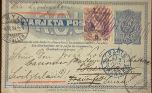 O) 1894 GUATEMALA, QUETZAL 5c lilac, VIA LIVINGSTON, W Y L SANKT GALLEN CANCELLA