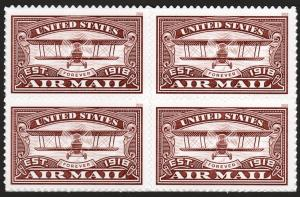 SC#5282 (50¢) United States Airmail (Red) Block of Four (2018) SA