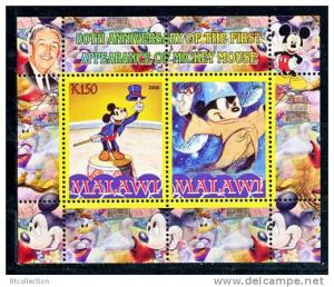 Malawi 2008 M/S Mickey Mouse Disney Cartoon Animation Childhood Stamps (2) perf