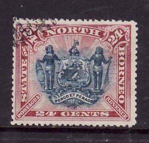 North Borneo-Sc#67-used 24c claret & blue-1894-