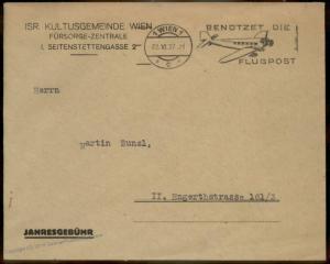 Austria 1937 Israeli Cultural Community Aid Central Year Dues Cover 89973