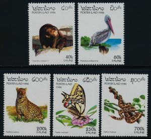Laos 1260-4 MNH Animals, Snakes, Birds, Butterfly